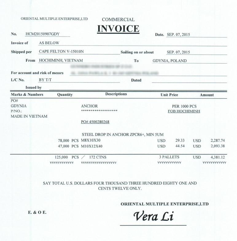 Commercial invoice - faktura handlowa